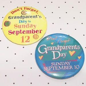 "Vintage 2 Grandparent's Day 3"" Pins"